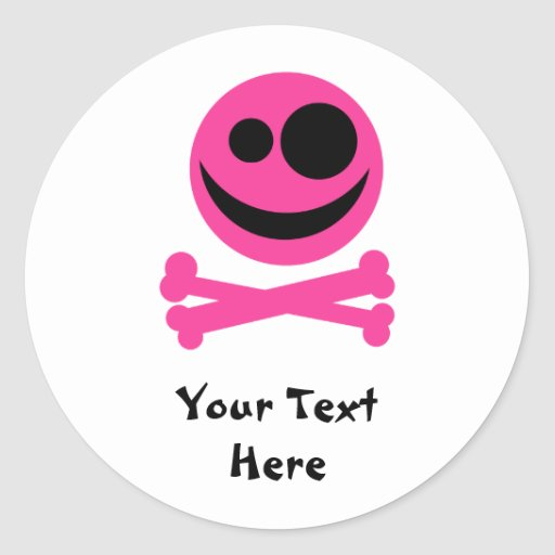 Skull and Crossbones. Hot Pink and Black. Sticker