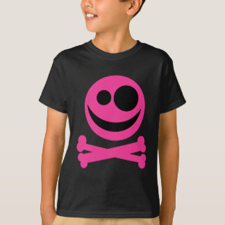 Skull and Crossbones. Hot Pink and Black. T-Shirt