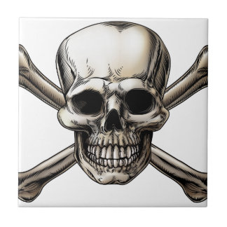 Skull and Crossbones Icon Ceramic Tile