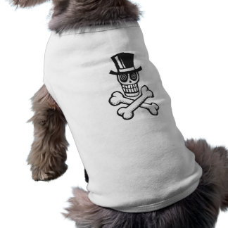 Skull and crossbones in tophat doggie shirt