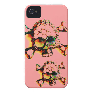 SKULL AND CROSSBONES NEON YELLOW AND PINK iPhone 4 Case-Mate CASES