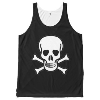 Skull and Crossbones on Unisex Tank Top All-Over Print Tank Top