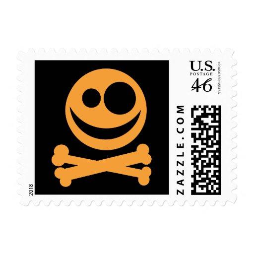 Skull and Crossbones. Orange and Black. Postage Stamps