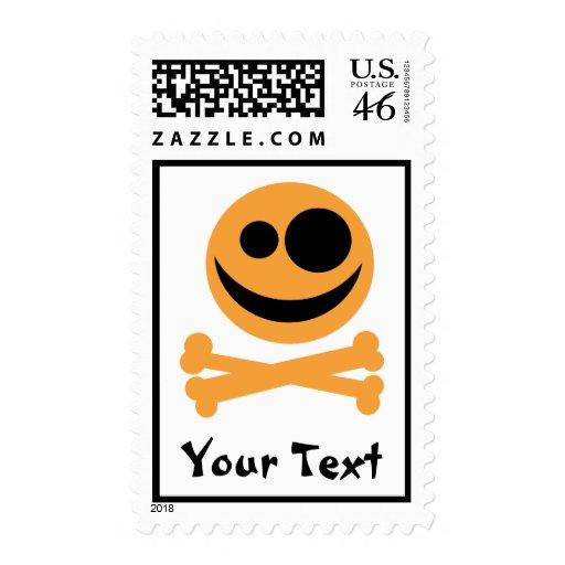 Skull and Crossbones. Orange and Black. Postage Stamp