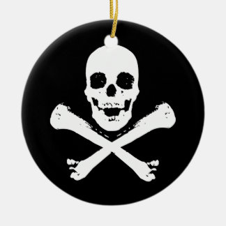 Skull and Crossbones Double-Sided Ceramic Round Christmas Ornament
