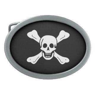Skull and Crossbones Oval Belt Buckle