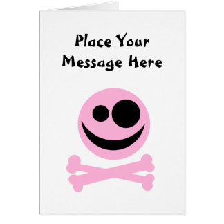 Skull and Crossbones. Pink and Black. Greeting Card