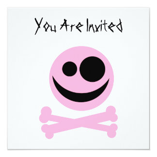 Skull and Crossbones. Pink and Black. 5.25x5.25 Square Paper Invitation Card