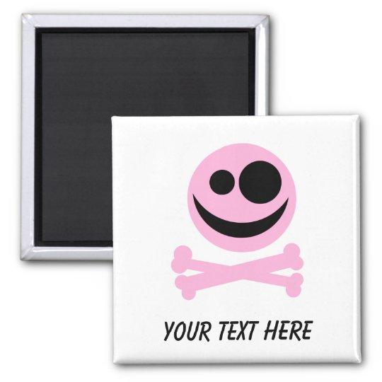Skull and Crossbones. Pink and Black. Magnet