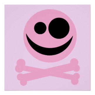 Skull and Crossbones. Pink and Black. Print