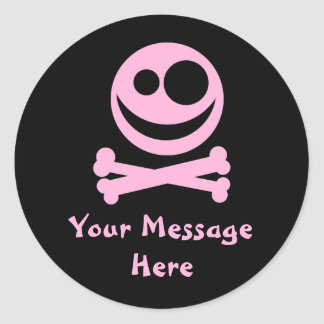 Skull and Crossbones. Pink and Black. Classic Round Sticker