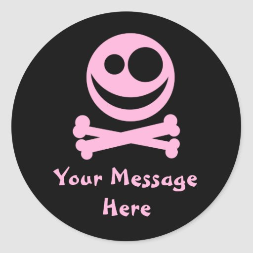 Skull and Crossbones. Pink and Black. Round Sticker