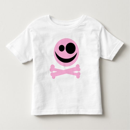 Skull and Crossbones. Pink and Black. Toddler T-shirt