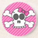 Skull and Crossbones Pink Bow Beverage Coaster