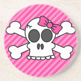 Skull and Crossbones Pink Bow Coaster