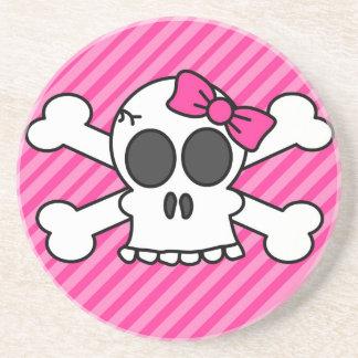 Skull and Crossbones Pink Bow Coaster