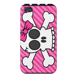 Skull and Crossbones Pink Bow Polka Dot Case For iPhone 4