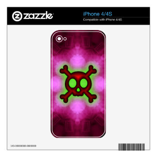 Skull and Crossbones Pink iphone 4 4S Skin Decals For iPhone 4