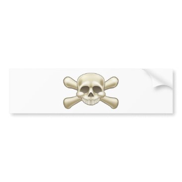 Halloween Themed Skull and Crossbones Pirate Cartoon Bumper Sticker