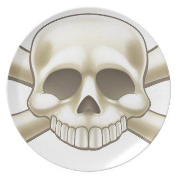 Skull and Crossbones Pirate Cartoon Melamine Plate