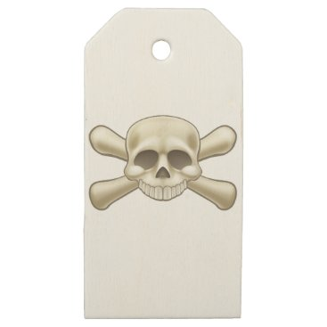 Skull and Crossbones Pirate Cartoon Wooden Gift Tags