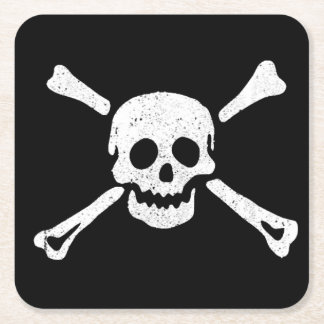 Skull and Crossbones Pirate Party Paper Coaster #1