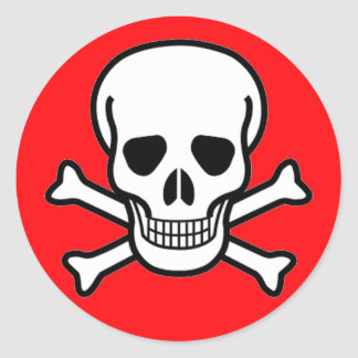 Skull and Crossbones Pirate Classic Round Sticker