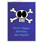 Skull and Crossbones Pirate Theme Birthday Greeting Card