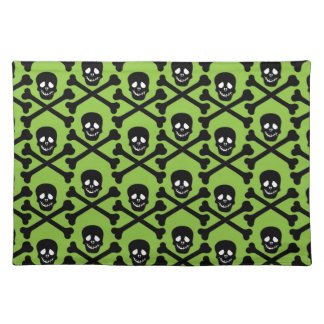 Skull and Crossbones - Purple or Green Background Cloth Place Mat