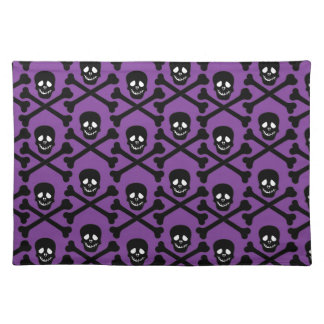 Skull and Crossbones - Purple or Green Background Cloth Placemat
