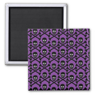 Skull and Crossbones - Purple or Green Background 2 Inch Square Magnet
