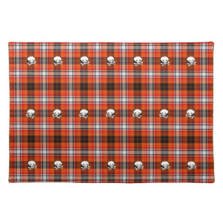 Skull and Crossbones Red and Black Plaid Placemat