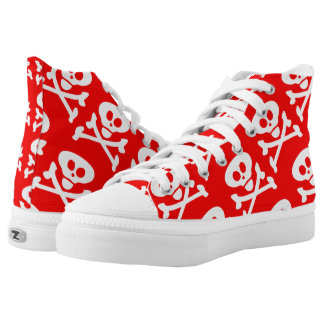 Skull and Crossbones Red White Printed Shoes