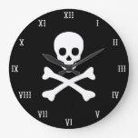 Skull and Crossbones Round Clocks
