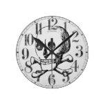 Skull and Crossbones Round Wall Clocks