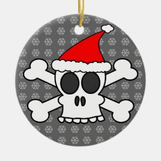 Skull and Crossbones Santa Hat Grey Snowflakes Christmas Ornaments