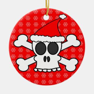 Skull and Crossbones Santa Hat Red Snowflakes Ornaments