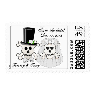 Skull and Crossbones Save the Date postage stamp