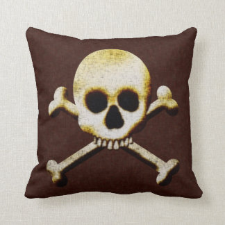 Skull And Crossbones Scary Halloween Haunted House Throw Pillows