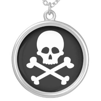 skull and crossbones silver plated necklace