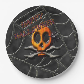Skull and Crossbones Spiderweb Halloween Plates 9 Inch Paper Plate