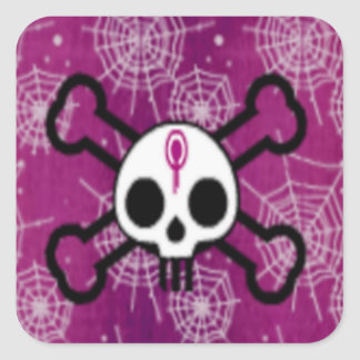 Skull And Crossbones Square Stickers