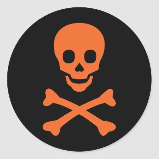 Skull and Crossbones Round Stickers