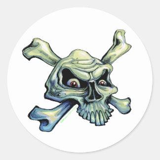 Skull and Crossbones-sticker Classic Round Sticker