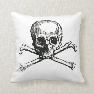 skull and crossbones throw pillow