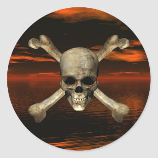Skull and Crossbones w/Red Sky Background 1 Round Stickers