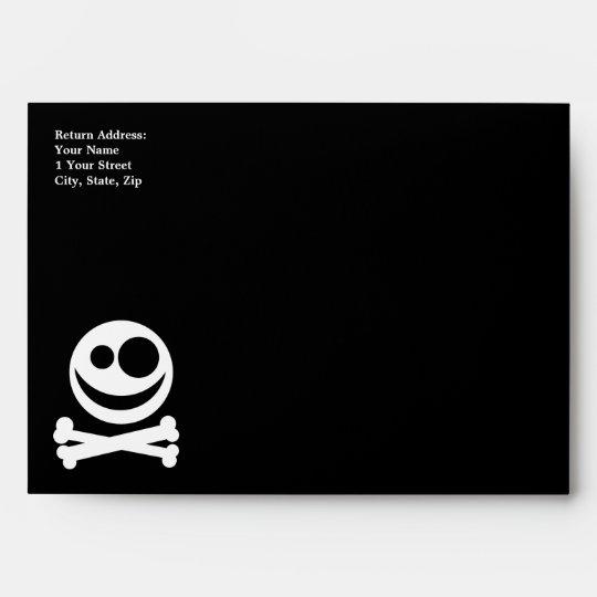 Skull and Crossbones. White and Black. Envelope