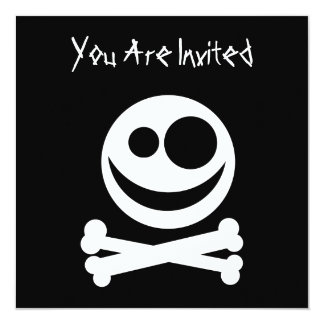 Skull and Crossbones. White and Black. Invitation