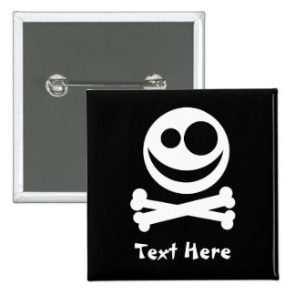 Skull and Crossbones. White and Black. Pinback Button