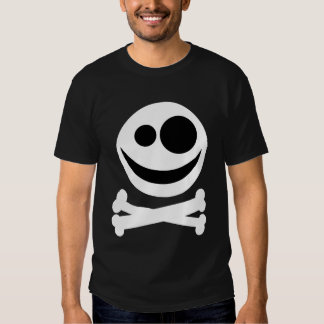 Skull and Crossbones. White and Black. T-Shirt